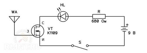 Детектор скрытой проводки на полевом транзисторе