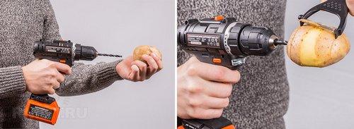 Чистка картофеля с помощью дрели
