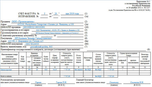 Счет-фактура без НДС для ИП