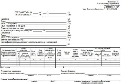 Счет-фактура, который применяется с 01.10.2017