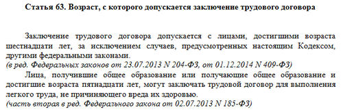 Статья 63 ТК РФ: вопросы и ответы