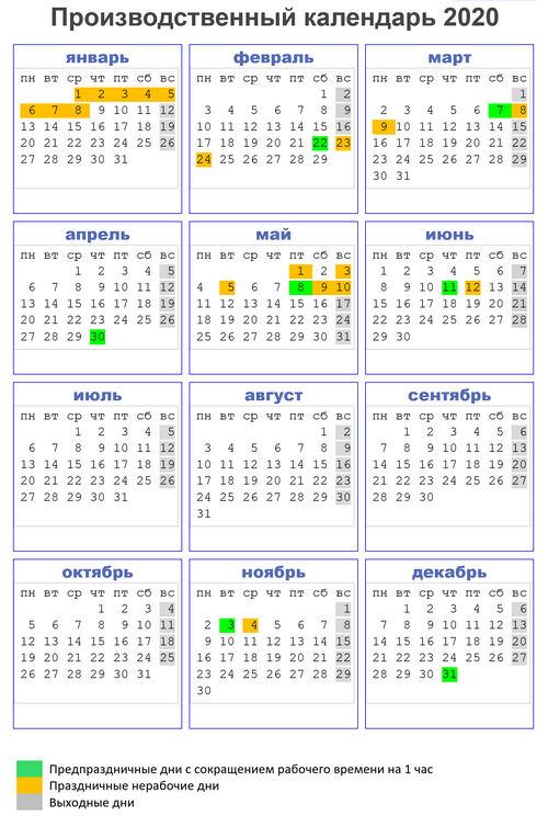 Производственный календарь 2020, шестидневной рабочей недели