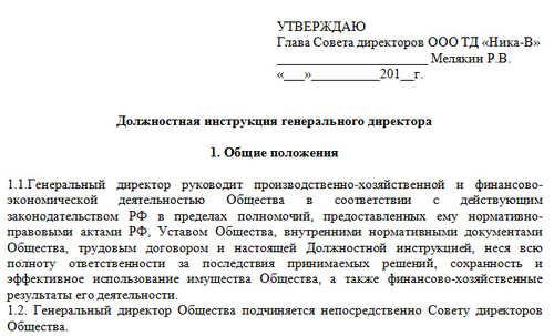 Должностная инструкция генерального директора ООО 2020