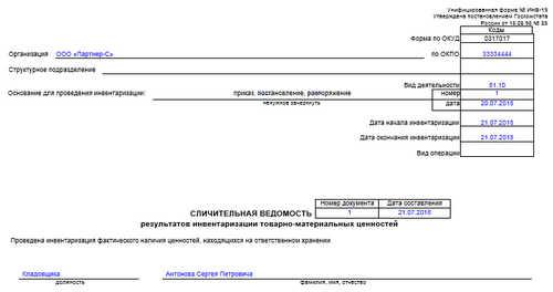 Унифицированная форма № ИНВ-19 - бланк и образец