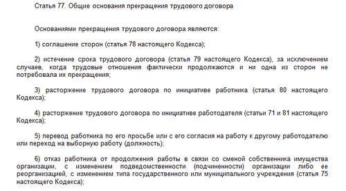 Статья 77 ТК РФ: вопросы и ответы