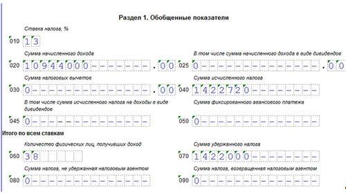 Порядок заполнения формы 6-НДФЛ, пример