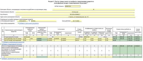 Форма декларации НВОС-2018