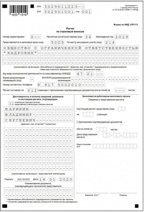 Нулевой отчет РСВ, бланк и образец