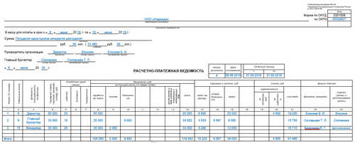 Расчетно-платежная ведомость по форме № Т-49