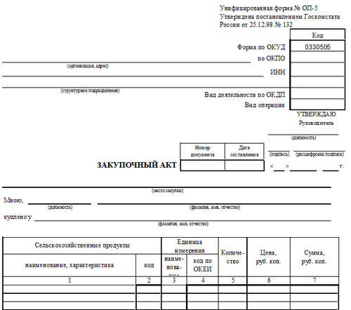 Унифицированная форма № ОП-5, закупочный акт