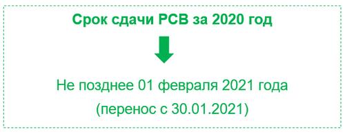 Расчет по страховым взносам (РСВ) за 2020 год
